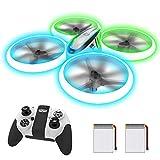 AVIALOGIC Q9s Drones para Niños,Dron Helicopteros Teledirigidos con Luces Azules & Verdes y Baterías Dobles, Cuadricóptero con Retención de Altitud y Modo Sin Cabeza, Regalos Para Niños