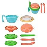 Trituradora portátil de alimentos para bebés de 9 piezas, trituradora de procesador infantil, juego de alimentador de frutas, herramienta para hacer puré para niños(Azul)