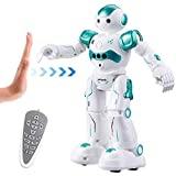 Virhuck R2 Robots de Radiocontrol, Robots de Programación Inteligente Sensación de Gestos, Bailando Cantando Caminando Robotica para Niños, con 500mAh de Batería Recargable Azul
