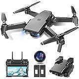 tech rc Drone con Cámara HD 1080P, Drone FPV Plegable Drone Profesional Posicionamiento de Flujo Óptico, 2 baterías, Control Remoto WiFi, Un botón de despegue / Aterrizaje, Modo sin Cabeza 3D Fli
