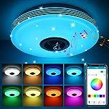 ABEDOE Lamparas de Techo con Altavoz Bluetooth Led 36W, Control de teléfono inteligente , Intensidad de luz regulable RGB música, Acrílico lámpara De Tech