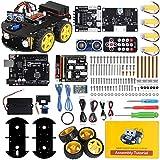 ELEGOO UNO R3 Kit de Coche Robot Inteligente V3.0 Plus Compatible con Arduino IDE con Módulo de Seguimiento de Línea, Sensor Ultrasónico, Módulo IR, Kit Robótico Coche Educativo STEM para Niño, Adul
